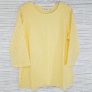 Denim & Co Yellow 3/4 Sleeve Lace Top M